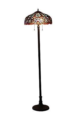 Chloe Lighting CH33473BV18-FL2 Sadie Tiffany-Style Victorian 2-Light Floor Lamp with 18-Inch Shade