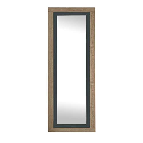 duehome HomeSouth - Espejo de Pared, Mural con Luna Modelo Lara, Acabado en Color Cambria y Grafito, Medidas 180 cm (Alto) x 60 cm (Ancho) x 3,5 cm (Fondo)