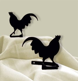 5 Inch Rooster Curtain Tie Backs (Iron Wrought Rooster)