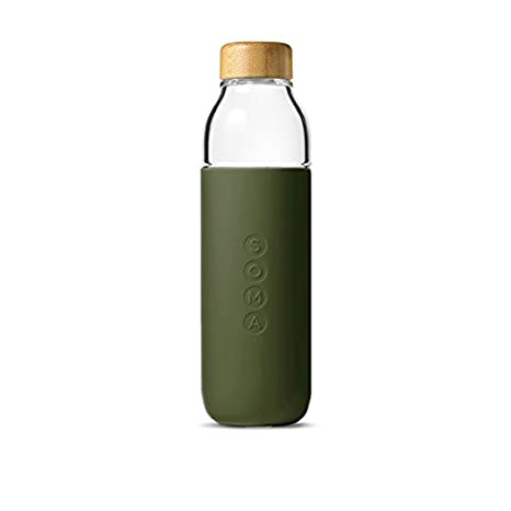 Soma 17 oz  BPA-free Wide Mouth Glass Water Bottle with Silicone Sleeve  Olive