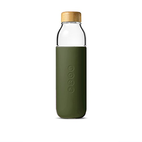 Soma 17 oz. BPA-free Wide Mouth Glass Water Bottle with Silicone Sleeve, Olive