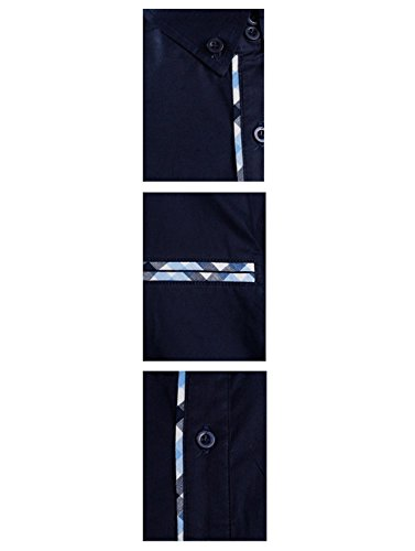 Tom's Ware Mens Premium Casual Inner Contrast Dress Shirt TWNMS310S-1-NAVY-XL