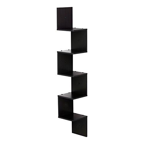 FURINNO FR16123EX 5 Tier Wall Mount Floating Corner Square Shelf, Espresso (Shelf Squares)