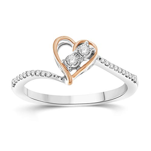 NATALIA DRAKE 1/10cttw Two Tone Heart Shape Diamond Ring in Sterling Silver ()