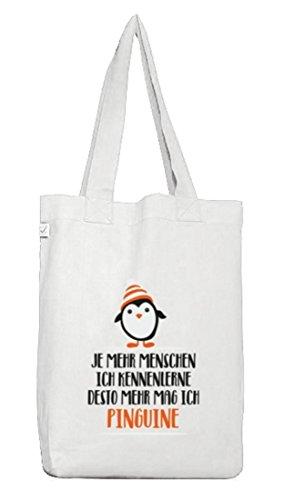 ShirtStreet Pinguin Tierfreund Jutebeutel Stoffbeutel Earth Positive mit Menschen - Pinguine Motiv White