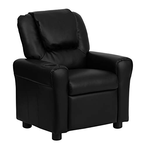 Flash Furniture Contemporary Black Leather Kids Recliner with Cup Holder and Headrest -,
