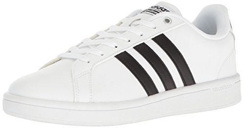 adidas Mens Cloudfoam Advantage Sneakers, White/Black/White, 8.5 M US