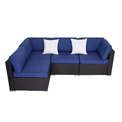 Kinsunny 4 Pieces Outdoor Garden All Weather PE Rattan Wicker Patio Furniture Conversation Sectional Sofa Set Chairs with Cushions and 2 Pillows