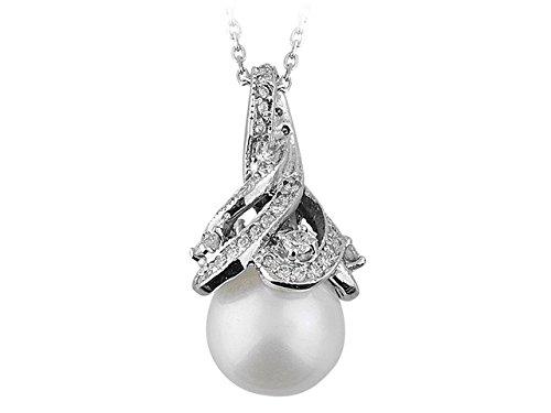 Pendentif Perles et Diamants-Femme- or Blanc 204P0032