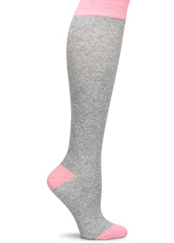 Nurse Mates Women's Cashmere Compression Socks 10-15 mm/Hg (Solid Grey/Pink)