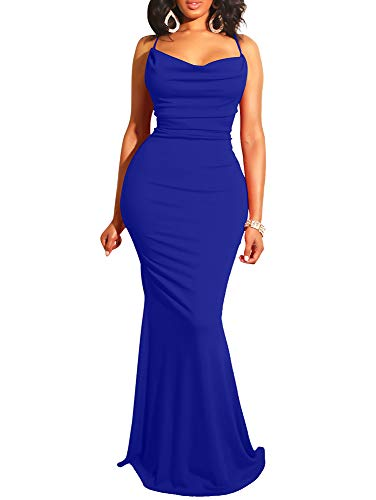 GOBLES Women Sexy Spaghetti Strap Bodycon Halter Mermaid Evening Maxi Dress Royal Blue ()