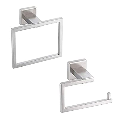 KES Bathroom Accessories Toilet Paper Holder Towel Ring Contemporary SUS304 Stainless Steel Rustproof 2-Piece Wall Mount, Brushed Finish, LA242-21
