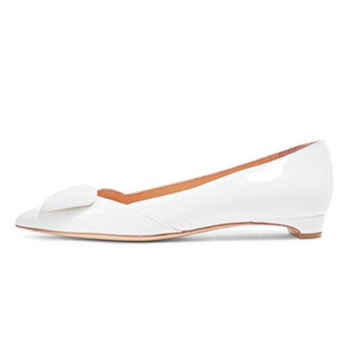 Fsj Femmes Confortables Talons Plats Appartements Bout Pointu Pompes Boucle Glissement Sur Les Chaussures De Bureau Robe Taille 4-15 Us Blanc