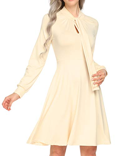 SE MIU Women Casual Keyhole Bow Tie High Waist Solid Long Sleeve Pleated V Neck Party Dress Beige
