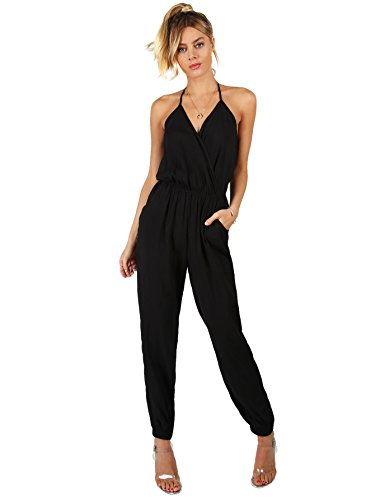 Romwe Women's Sexy Sleeveless Surplice Top Pocket Front Wide Tapered Romper Jumpsuit Black XS (Wrap Jumpsuit)