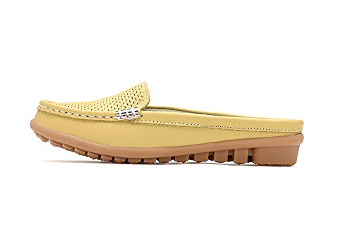 Verocara Womens Leather Cowhide Slippers Beach Sandals Yellow jNLq3IC
