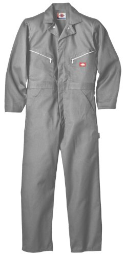 Dickies Men's 7 1/2 Ounce Twill Deluxe Long Sleeve Coverall, Gray, Large (Mechanic Outfit)