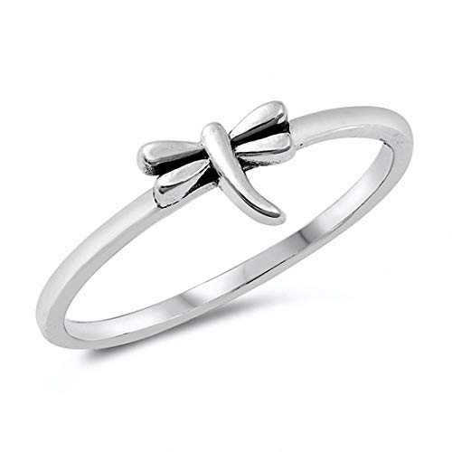 (Blue Apple Co. Dragonfly Ring Band Solid 925 Sterling Silver, Size-7)
