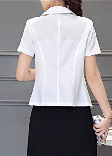 Donna Chic Camicia Slim Button Moda Moda Corta Manica Fit Blazer Primaverile Colore Bavero di Giaccone Bianca Puro Outerwear r4SFrWO