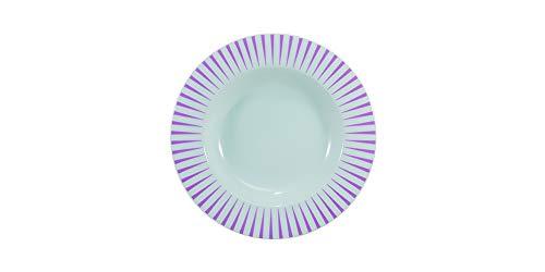 Estojo com 6 pratos fundos. Modelo redondo aba larga. Decoração sol rosa. Fabricado pela porcelana schmidt.