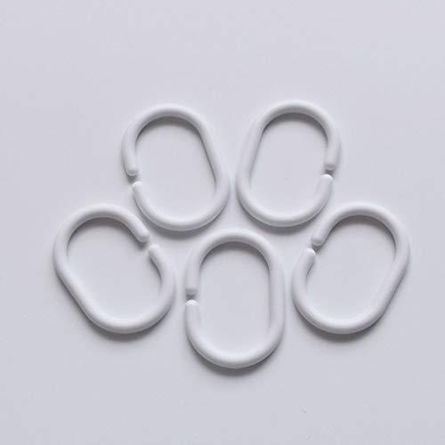RuiLing 24pcs Plastic White C Type Ring Hook Flexible Bathroom Shower Curtain Liner Hanger Drape Glide Loop Clip