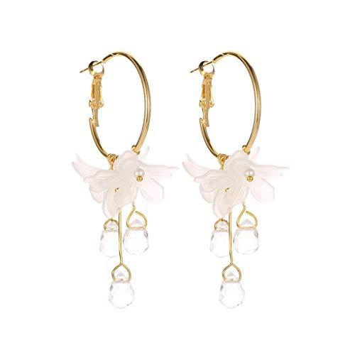 Rape Flower Sweet Temperament White Flower Crystal Pendant Metal Earrings Ladies Jewelry