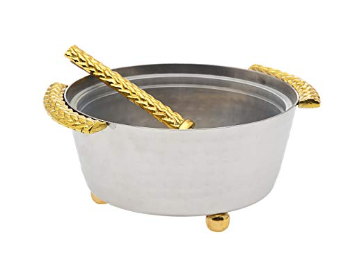 Beaded Edge Relish Bowl Condiment Dip Holder with Spoon Herringbone by Godinger - Silver/Gold