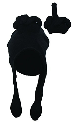 Black Middle Finger Talk Hat Novelty Squeeze Action on Tassels Adult