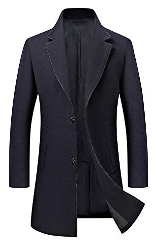 Men's Trench Coat Wool Blend Slim Fit Jacket Single Breasted Business Top Coat 18577 Navy L