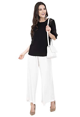 Kurta Kurti - Lagi Women Plazo Plazzo Bottom Wear Ethnic Palazzo Pants Trousers with Kurti Kurtis Kurta L, White(PLZ04F)