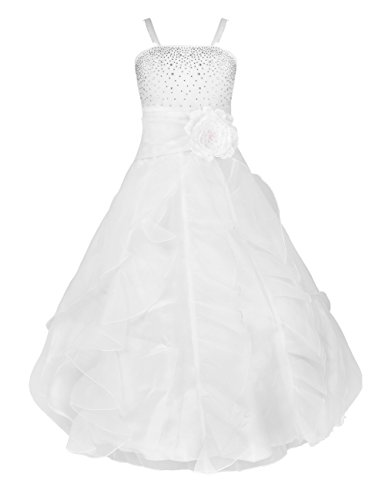 iiniim Kids Big Girls Organza Formal Pageant Party Wedding Gown Bridesmaid Ruffle Flower Girl Dress