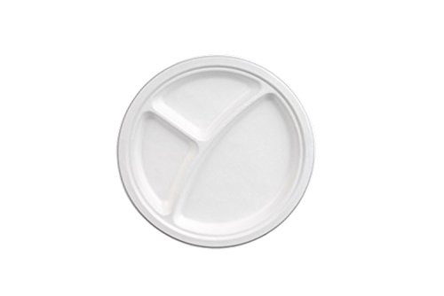 "Go-Green Eco-Friendly 100% compostable, Sugarcane Fiber, Disposable 9"" 3-Compartment Plate, 125 Pack"