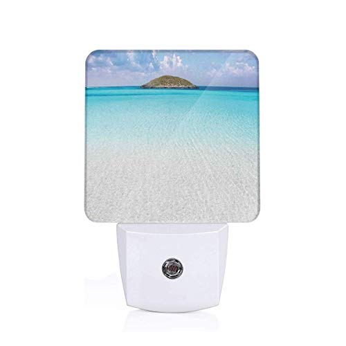 Xuforget Ocean Paradise Beach in Caribbean Water Ultra Slim LED Night Light with Auto Dusk to Dawn Sensor for Bedroom