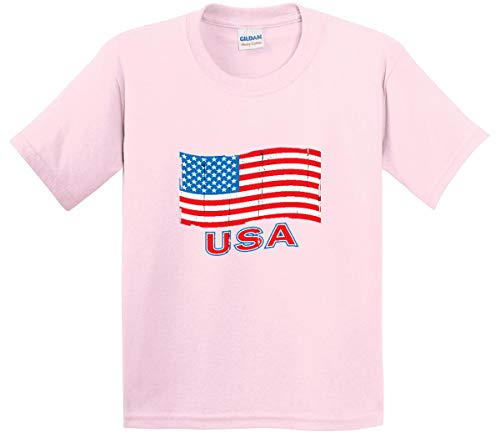 - Trendy USA 719 - Youth T-Shirt USA Flag Distressed Old Glory United States Large Light Pink