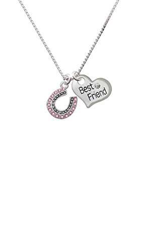 Beaded Pink Crystal Horseshoe with Good Luck - Best Friend Heart Necklace
