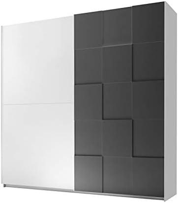 Tousmesmobili - Armario de 2 Puertas correderas, 220 cm, Blanco/Gris Mate - TICATO - L 220 x A 64 x H 210 - Nuevo: Amazon.es: Hogar