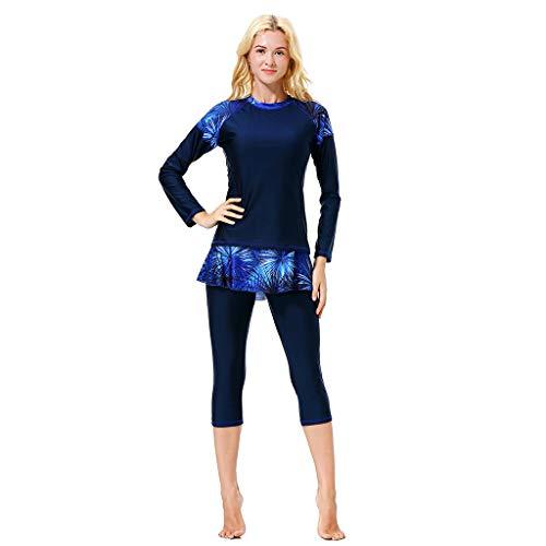 Alangbudu Women Full Body Swimsuit Rash Guard Three Piece Long Sleeve Half Leg Swimwear Swimdress with UV Sun Protection Blue (Uv Thong Underwear)