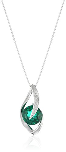 Womens Gemstone Accent - 10k White Gold Created Emerald and Diamond Accent Flame Pendant Necklace, 18