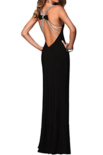 Ausschnitt Abendkleid Promkleid Sexuell Partykleid Chiffon Damen V Lang Ivydressing Schwarz Schlitz zq6ER0U