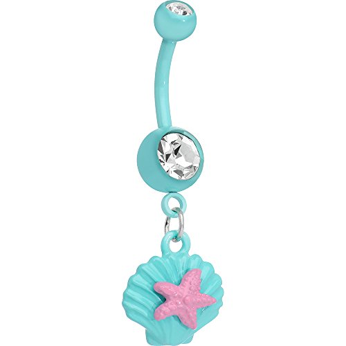 Body Candy Clear Brilliant Blue Seashell and Pink Starfish Dangle Belly Ring (Ring Shell Pink)