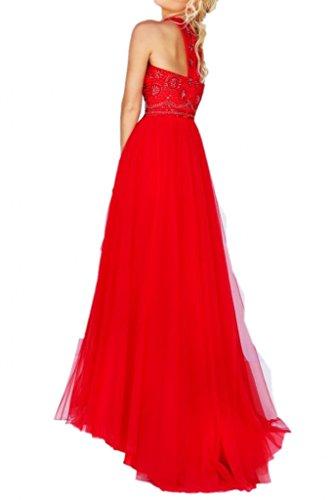 Charmant Damen Traumhaft Rot Neckholder Abendkleider Abschlussballkleider Promkleider Lang A-linie aus Tuell