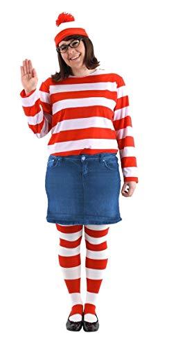 elope Wheres Waldo Adult Plus Size Wenda Costume Kit