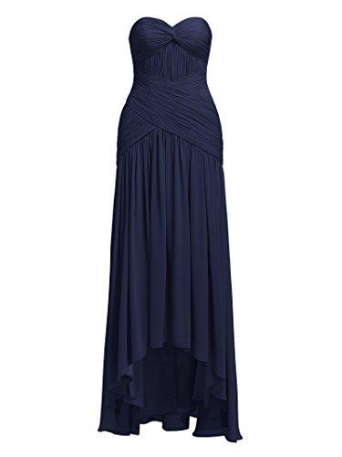 Alicepub Haute Robes De Demoiselle D'honneur En Mousseline De Soie Bas Robes De Bal Du Soir Bleu Marine