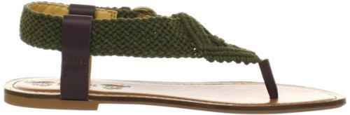 Nine West Pipp - Sandalias de vestir de lona para mujer DGrn/Brn