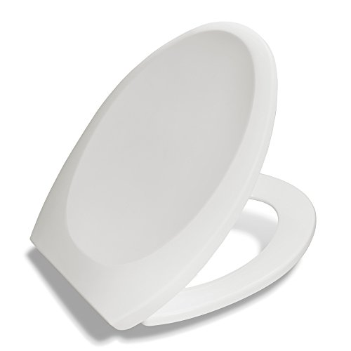 Centoco 1700SC-301 Plastic Elongated Toilet Seat with Closed Front, Crane White delicate