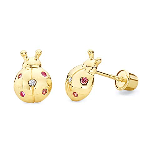 14k Yellow Gold Ladybug Stud Earrings with Screw Back
