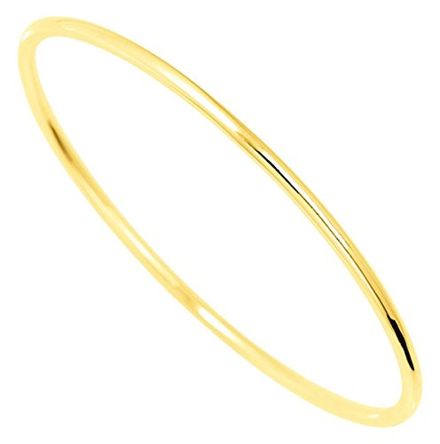Orleo - REF7483BB : Bracelet rigide Femme Or 18K jaune - Jonc Fil Rond Massif 63 mm x 1.7 mm