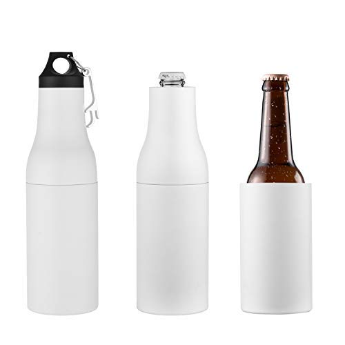 Stainless Steel Bottle Holder - COLCOOL Premium Stainless Steel Beer Bottle Insulator | Original Double Wall Vacuum Beer Cooler with Opener| 12oz Long Neck Beer Bottle Holder | Beer Koozie | Beverage Cooler | Keep It Ice Cold
