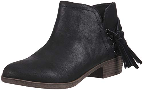 Rampage TIAAN Womens Cut Out Ankle Bootie with Decorative Side Tassle Boot, Black Fabric, 6 M US