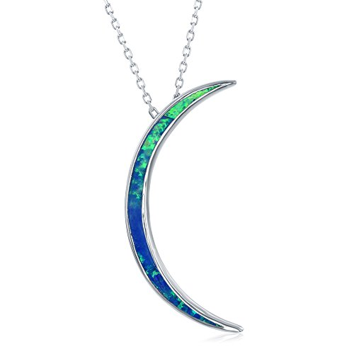 Beaux Bijoux Sterling Silver Created Blue Opal Thin Crescent Moon Pendant 18